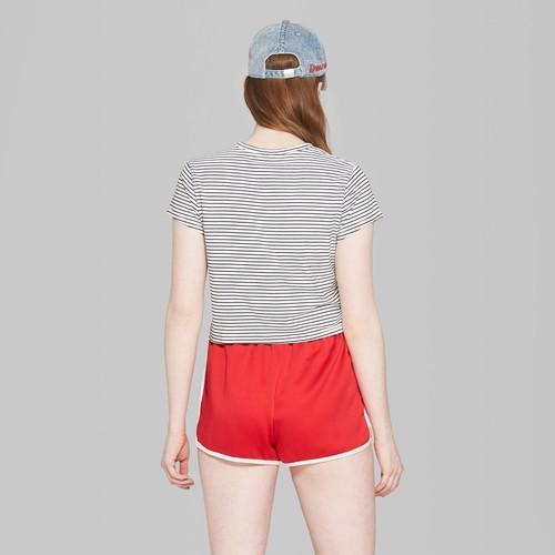 646d87b1b5 Wild Fable Women's Striped Boxy Cropped T-Shirt - White/Black - Size: ...