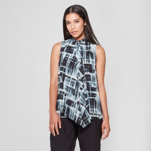 a39cea6940080 Prologue Women s Printed Sleeveless Ruffle Front Blouse - Blue - Size M -  BLINQ