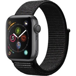 Apple - Apple Watch Series 4 (GPS) 40mm Space Gray Aluminum Case with Black Sport Loop - Space Gray Aluminum