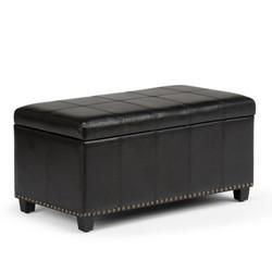 Simpli Home Amelia Faux Leather Storage Ottoman