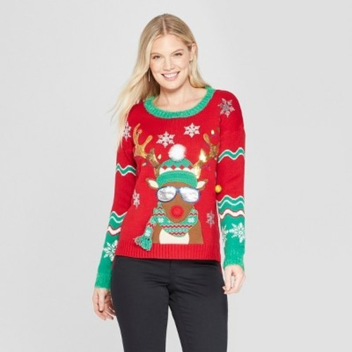 ... 33 Degrees Junior Women's Reindeer Christmas Ugly Sweater - Red ...