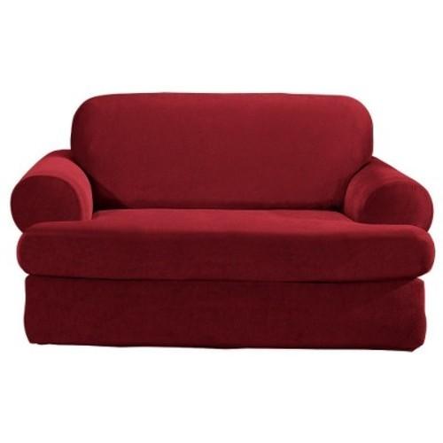 Sure Fit Stretch Pique T Cushion Sofa Slipcover 2 Piece Garnet