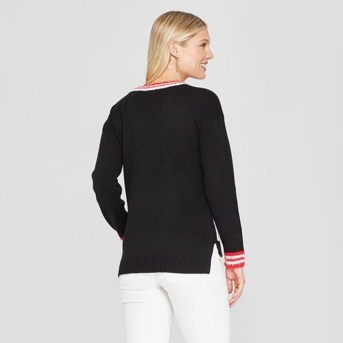 33 Degrees Womens Crew Unicorn Christmas Ugly Sweater Black