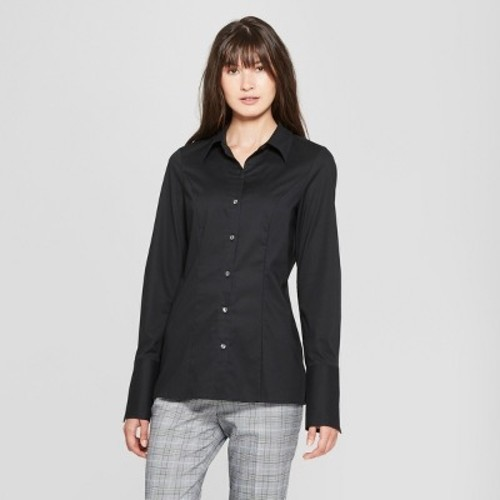 3ba592dbb Prologue Women's Fitted Button-down Collared Shirt - Black - Size: 2XLarge  - BLINQ