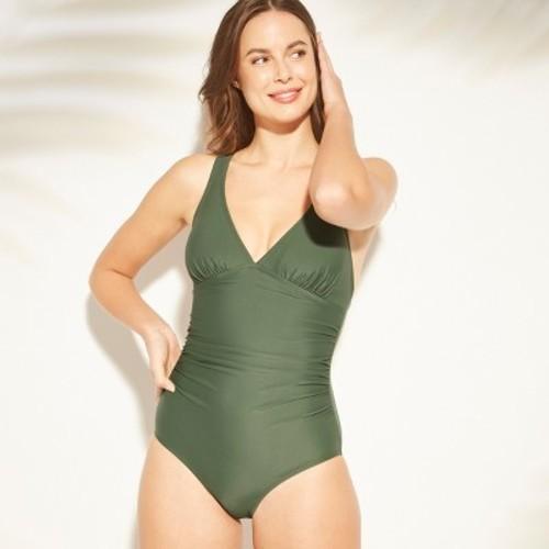 ba0a8b8e961b ... Kona Sol Women's Shirred Strappy Back One Piece Swimsuit - Green - Size:M  ...