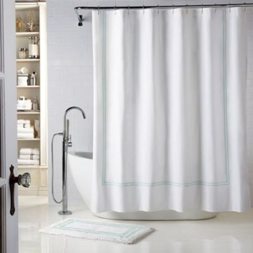 Wamsutta Baratta Stitch Stall Shower Curtain White Seaglass Size54x78