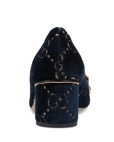 cb46e2c55d8 Gucci Women s Sylvie 55mm GG Velvet Loafers - Blue Azure - Size 8.5 ...