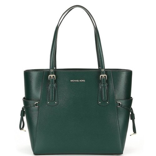 3541cf54c9c5 ... Michael Kors Women's East West Crossgrain Leather Tote - Racing Green  ...