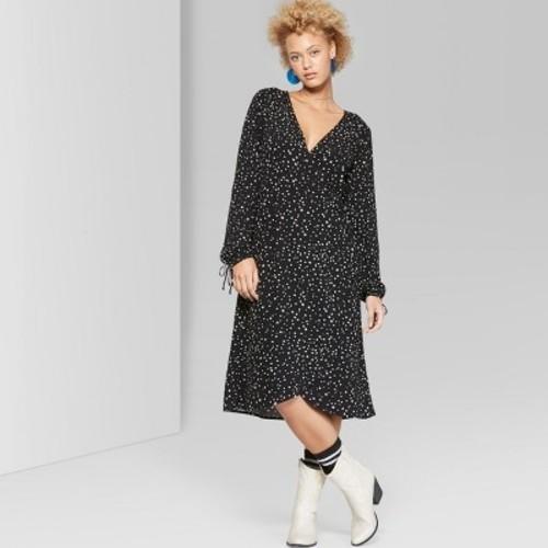 170bdc2729a Wild Fable Women's Long Sleeve Wrap Midi Dress - Black - Size: Large - BLINQ