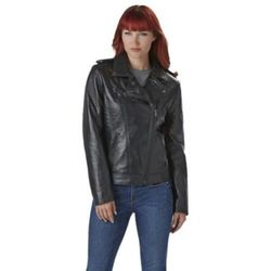 Nuvano Women's Classic Leather Motorcycle Jacket -