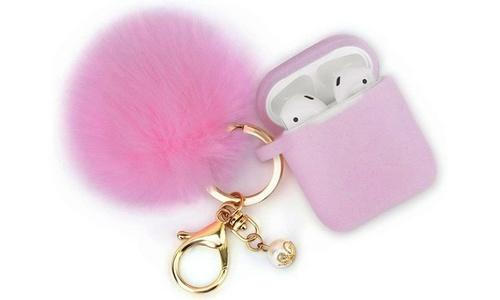 3-Piece AirPod Glitter Case with Keychain Set - Pink