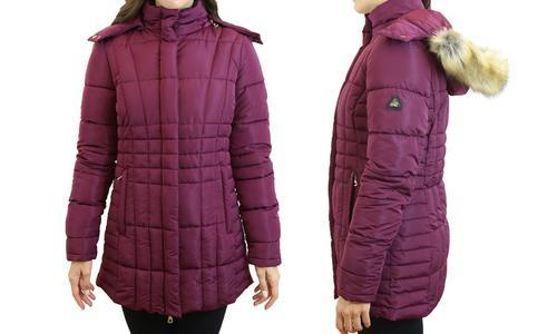 Harvic Women s Quilted Parka Jacket With Hood - Burgundy - Size  3X ... ea8e2f022e