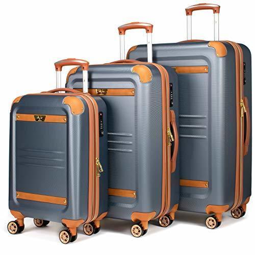 0e14f19cb ... 19V69 Italia Vintage 3 Piece Expandable Hard Spinner Luggage Set Grey  ...