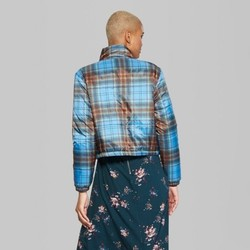 Wild Fable Women's Plaid Printed Puffer Jacket