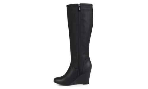 b74b4bd8fdd2 Journee Collection Women's Round Toe Wedge Boots - Black - Size: 5.5 ...