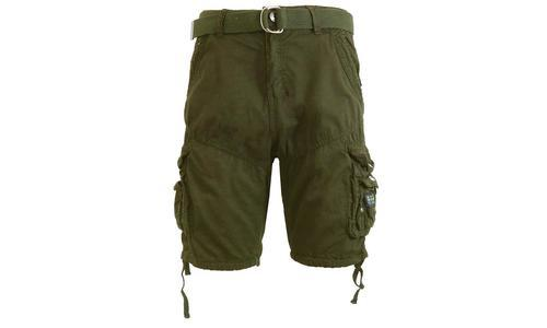06e3d2f26c Galaxy By Harvic Men's 100% Cotton Belted Cargo Shorts - Olive - Size: ...