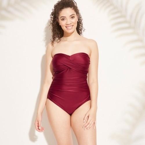c607ab16391 ... Kona Sol Women s Torso Bandeau One Piece Swimsuit - Bing Cherry ...