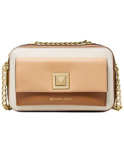 3ce6a0ff4804e6 Michael Kors Women's Sylvia Leather Double Zip Crossbody Bag - Gold ...
