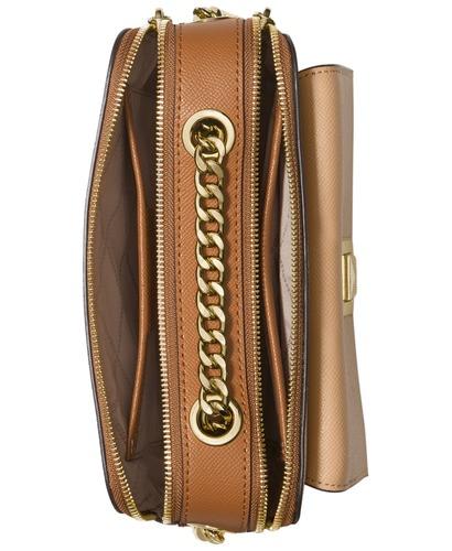 5df1b6bd7267a1 Michael Kors Women's Sylvia Leather Double Zip Crossbody Bag - Gold ...