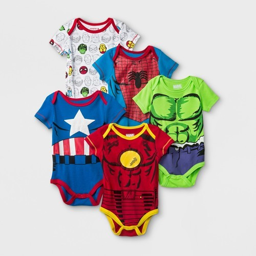 3e9db384f Marvel Baby Boys' Short Sleeve Bodysuit Set - 5-Pk - Red/White ...