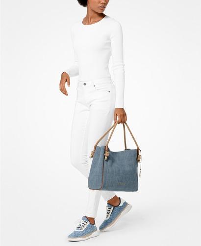 4b24687f66adb Michael Kors Women s Isla Grab Bag - Washed Denim Gold - Size  Large ...