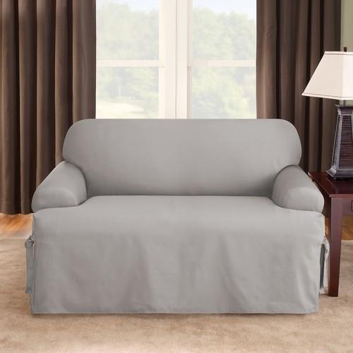 Cool Sure Fit Cotton Duck Tcushion Loveseat Slipcover Gray Creativecarmelina Interior Chair Design Creativecarmelinacom