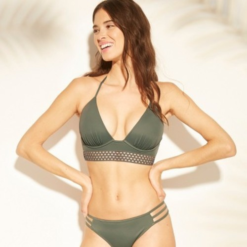 f7974d0b38b Women's Tropics Light Lift Elastic Trim Triangle Bikini Top - Shade & Shore  Army ...
