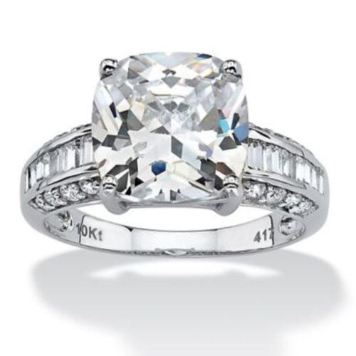 Palmbeach 10k Gold Cushion Cut Round Cz Engagement Ring White Size 5