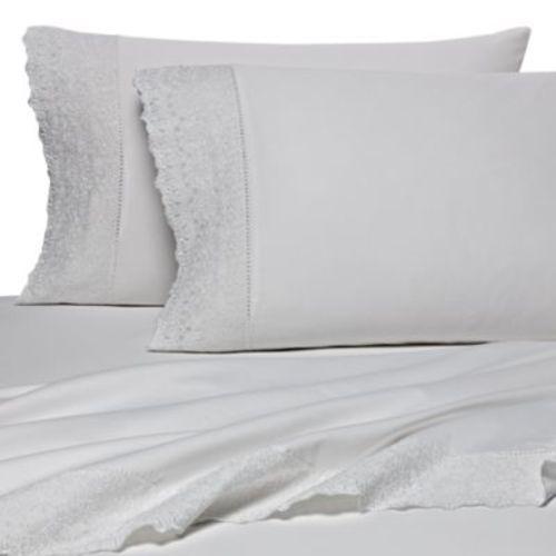 Wamsutta 400tc Lace Hem Sheet Set White Size Queen Check