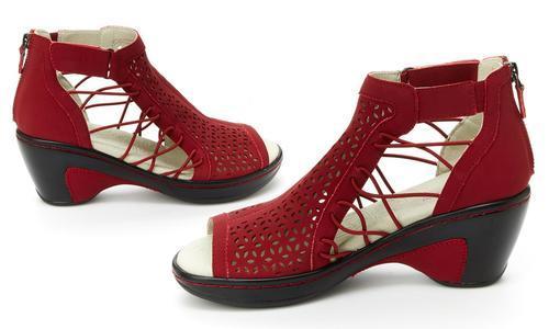 f0467dd7e1b4b JBU by Jambu Women's Nelly Wedge Sandals - Red - Size: 12
