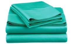 Spirit Linen Super Bright Microfiber Sheet Set - Turquoise - Size: Queen
