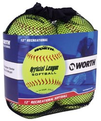 Worth YWCS12S 12-Inch Official Softball League Stamped Optic Yellow Softballs in a Bag (Pack of 4)