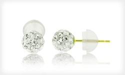14-Karat Gold 8mm Swarovski Elements Stud Earrings - White