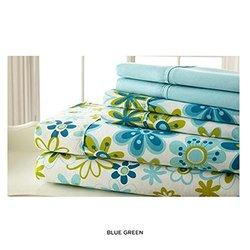 Spirit Linen Palazzo Luxurious Printed Sheet Set - Blue/Green - Size: Full