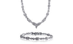 Kiran Jewels Rhodium 1/2 CTW Diamond Necklace and Bracelet 2-Piece Set