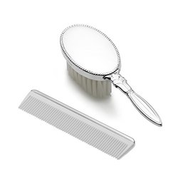 Empire Silver Sterling Girls Comb & Brush Set W/Bead Border