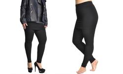 Queen Size Cotton Blend Mini Skirt Leggings: Black 279240