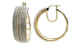 14K Yellow Gold over Brass 2ct Diamond Hoop Earrings