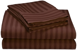 Embossed Dobby 95 GSM 4-Pc Microfiber Bed Sheet Set -Chocolate -Size: Full