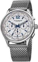 Akribos Men's Swiss Mesh Bracelet Watch - White/Stainless Steel (AKGP716SS)