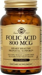 Solgar Folic Acid Tablets, 800 mcg, 250 Count