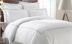 3-Pc 600TC Duvet Cover Set w/ Double Marrowing - White/Blue - Size: Queen