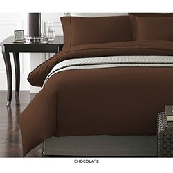 Spirit NY Collection 2PC Duvet Cover Pillow Cases - Chocolate - Size: King