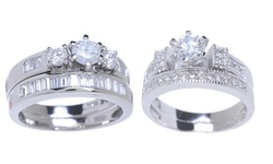 Sterling Silver 18K White Gold Plated CZ Ring Set - Tri-Stone - Size: 7