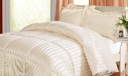Kathy Ireland Down Alternative Reversible Comforter Set: Queen/Ivory
