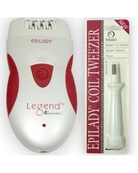 Epilady Legend 4th Generation Epilator Hair Remover Plus Free Epilady Lady Coil Tweezer for Facial Hair Eyebrows Chin Etc Hair Removal System for Women