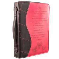 Pink Amor Bible / Book Cover - 1 Corinthians 13:4-8 (Large) (Spanish Edition)