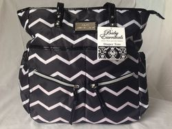 Baby Essentials Diaper Zig Zag Tote - Black/ White
