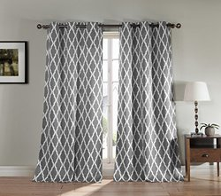 Duck River Textiles Geo Print Grommet Blackout Panel Pair - Gray -40x84