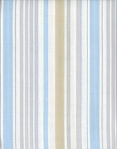Laura Ashley Fabric Shower Curtain Somerset Stripe Light Blue Green Gray White Stripes